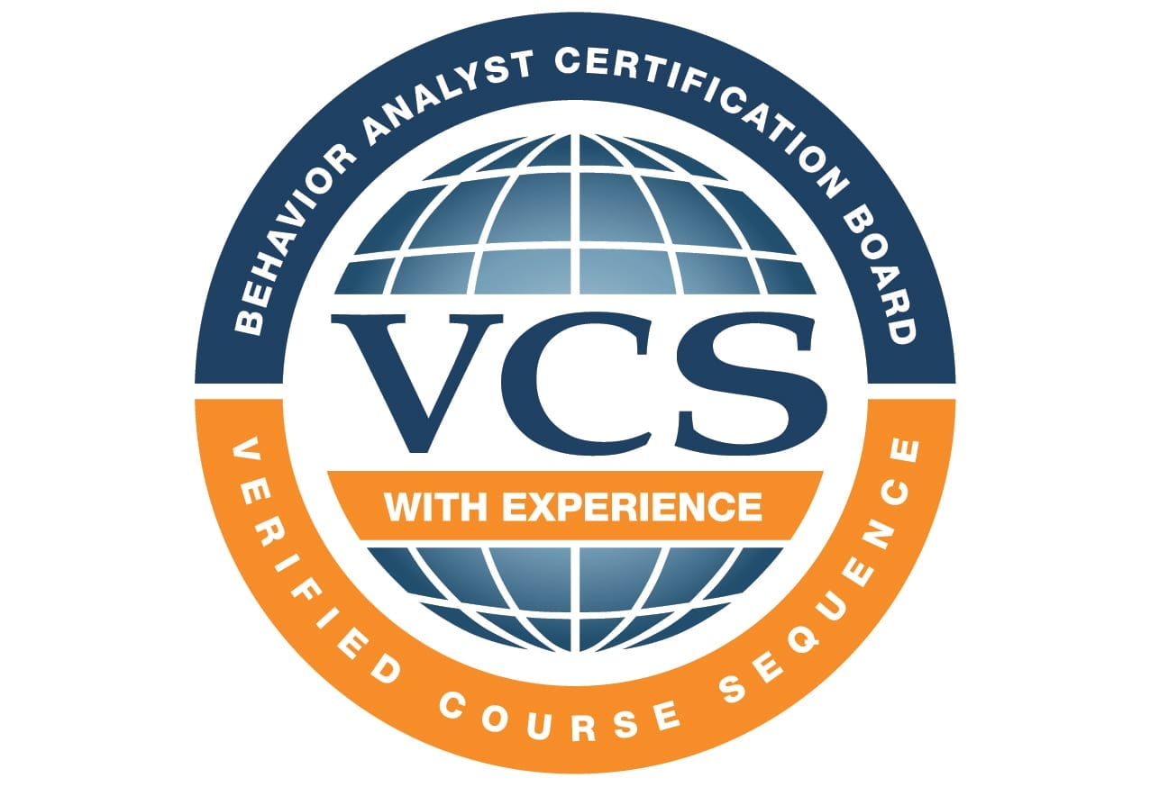 Logo with Behavioral Analyst certification board verified course sequence text around circle